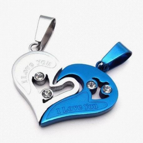 """Širdelės formos pakabukai porai """"Mėlyna"""""""