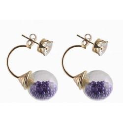 Violetiniai auskarai su grudeliais