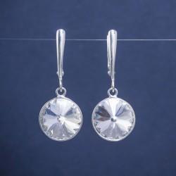 Dviejų dalių sidabro auskarai su Svarovskio kristalais
