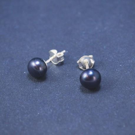 Sidabrinis auskariukas - violetinis perlas