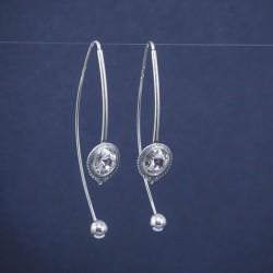 Dvigubi ilgo pakabinimo sidabriniai auskarai su Svarovskiu