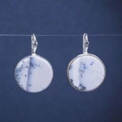 Apvalūs sidabriniai auskarai su Agatu