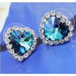 "Mėlyni širdelės formos auskarai ""AU406"""